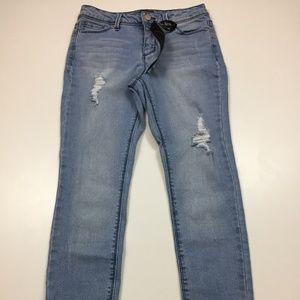 NWT CRED NY Distressed Raw Hem Skinny Jeans
